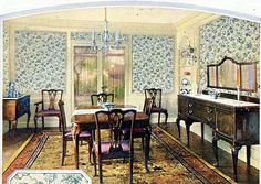 1924 Dining Room From a Wallpaper Guild ad in the November 1924 issue of Good Housekeeping magazine. 1920s Home Decor, Retro Home Decor, Home Decor Items, Cheap Home Decor, Living Vintage, Vintage Room, Vintage Decor, 1920s Furniture, Monuments