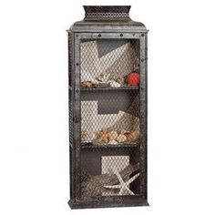 "Featuring wire mesh panels and 3 storage tiers, this industrial-chic wall shelf is perfect for showcasing trinkets as part of a stylish vignette. joss and main   Product: Wall shelfConstruction Material: Metal and wire meshColor: GreyFeatures: Three shelvesDimensions: 34"" H x 13.63"" W x 5.5"" D"