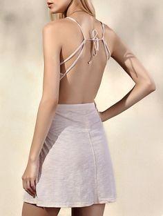 Spaghetti Straps Sleeveless Backless Solid Color Dress #womensfashion #pinterestfashion #buy #fun#fashion