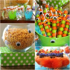 I adopted some of these monster themed food ideas for my sons first birthday! The suckers you can find at Oriental Trading and they were a big hit for party favors! Spagetti is really easy for feed a lot of people.