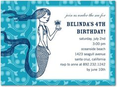 mermaid party invitation - does it bother you that most mermaid parties are for four and five year olds? Mermaid Party Invitations, Unique Invitations, Birthday Party Invitations, Invitation Ideas, 21st Bday Ideas, Birthday Ideas, 4th Birthday, Birthday Parties, Little Mermaid Birthday