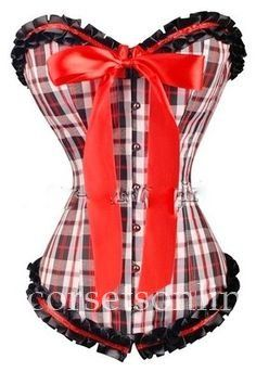 Shop Plaid Overbust Corset Bustier Tops With Red Ribbon Online