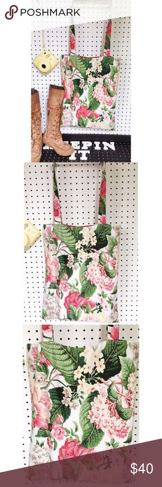 """The Amira Handmade Tote Brilliant florals, gorgeous greens, & delicate links make The Amira an outfit staple! This beautifu Tote spruces up every ootd; casual or business related & it's sturdy enough to hold your essentials!   Approx 16""""w x 18""""h  Strap drop approx 14""""   Fully lined in beautiful red or white. Due to the handmade nature of this item, slight imperfections may exist but will not affect function. FIRM PRICE.   Follow us on Instagram for a look at my business: keepinitclutch…"""