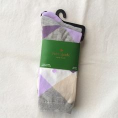 """Kate Spade Lavender Harlequin Argyle Sock Set OS Two pairs of socks by Kate spade . Lavender and gray """"harlequin"""" argyle print and solid gray with lavender toe and ankle.  NO TRADES.    OFFERS ALWAYS WELCOME! kate spade Accessories"""