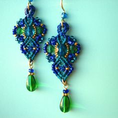 Micro Macrame Earrings Beaded Earrings in Teal Blue by glassdancer