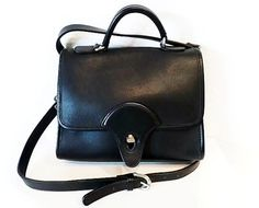 SALE Vintage Black Genuine Leather Briefcase by KMalinkaVintage,