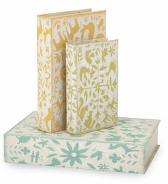 Set of 3 Farmhouse Dutch Green Yellow and Blue Geometric Print Decorative Table Top Storage Book Boxes Storage Containers, Storage Baskets, Pennsylvania Dutch, Pretty Bedroom, Joss And Main, 3 Piece, Decorative Boxes, Stationery, Make It Yourself