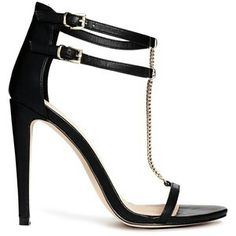 Black leather heels with a fashionable chain women's shoes