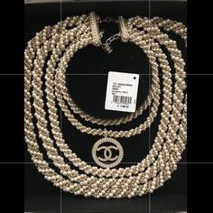 3eee7ebab35 Chanel Multi Strand Pearl Necklace CC Pendant. Limited edition multi strand pearl  necklace with cc