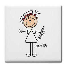 Stick Figure Nurse Tile Coaster by my_stick_figure