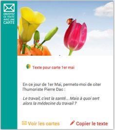 Merci-facteur.com vous offre des modèles de textes gratuits afin de vous aider à écrire vos cartes 1er mai. Après avoir choisi votre modèle de texte, choisissez une carte 1er mai à envoyer par La Poste: http://www.merci-facteur.com/modele-texte-1er-mai.php #carte   #texte   #1ermai   #humour   #fêtedutravail   #muguet