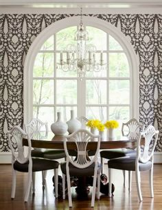 Dark brown and white dining room