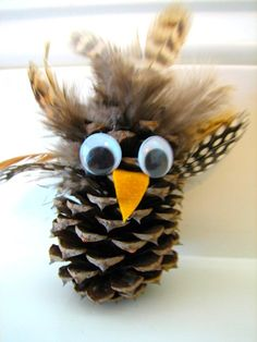Pine Cone Owl #2 - Things to Make and Do, Crafts and Activities for Kids - The Crafty Crow