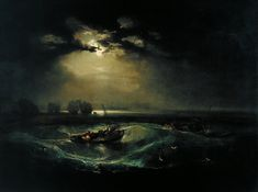 """JWM Turner. Some think of him as the """"Father of Impressionism."""" He was a British watercolor painter who painted in the late 18th, early 19th centuries. His paintings strike some of the same emotional chords as the popular Impressionist artists like Monet. This one was is called """"Fisherman at Sea."""" It was painted in 1796 and is in the Tate Museum in Britain."""