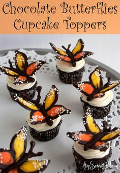 Chocolate butterfly cupcake toppers • Atop Serenity Hill #dessert #holiday #cupcake