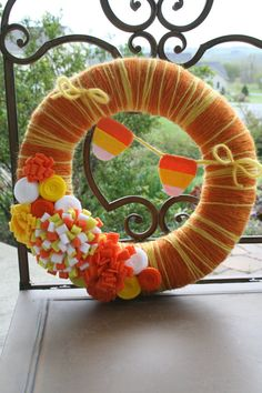 Fall Yarn Wreath/Candy Corn Banner by LizzyDesigns on Etsy