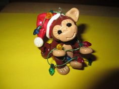 polymer clay Monkey Christmas ornament by missdolphin1963 on Etsy, $15.00