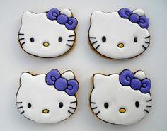 Hello Kitty Cookies (Oh Sugar Events) hacerlas con transfer, en fondo rosa pálido y lazo rosa fuerte)