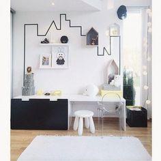 Chambre enfant graphique en noir et blanc | black and white kid's #bedroom