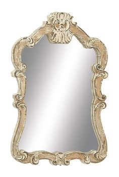 pin it for later. Read more on french country bathroom accessories. Vintage Ivory Colored Wooden Wall Mirror Décor With a Victorian Themed Frame in a Weathered Finish #frenchcountrybathroomaccessories