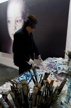 """Gottfried Helnwein working on """"Murmur of the Innocents"""" 2009"""