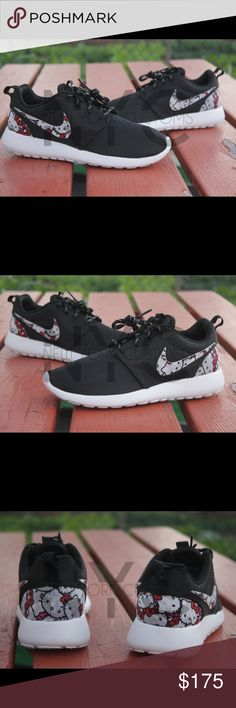 Hello Kitty Nike Roshe One Black/White Custom Sizes listed are for women. Men sizes 7-13 can be done upon request.  This listing is for a custom designed Roshe. This is a fabric based custom. The design is glued on by us at NYCustoms. Stand out from the rest in this beautiful pair of Roshe Run. We only use 100% authentic Nike Roshes for our designs.  Sorry, we wont be accepting offers. Our asking price is firm. Not accept trades. Nike Shoes Athletic Shoes