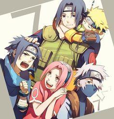 Itachi, Naruto, Sasuke, Sakura, Kakashi