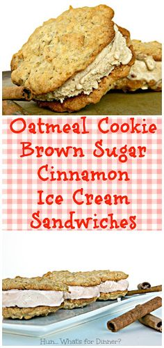 Brown sugar and cinnamon ice cream is sandwiched between oatmeal cookies, for ice cream sandwich nirvana.