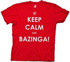 The Big Bang Theory Keep Calm and Bazinga Mens Tee (Large)