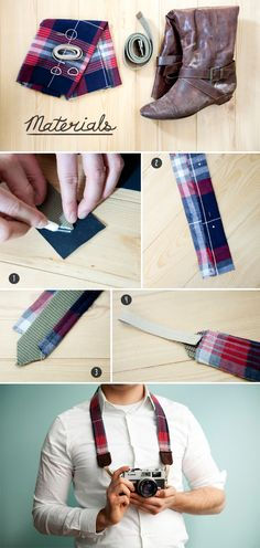 DIY Camera Strap with old belt and/or shirt! So cute!