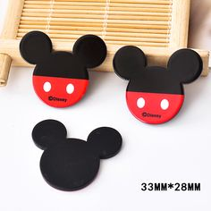 50pcs 33*28MM Kawaii Cartoon Mouse Resin Flatback Black Color Planar Resin DIY Craft for Home Decoration Accessories DL-622