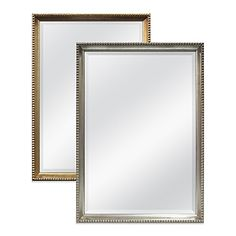 This classic, elegant decorative mirror features a beveled edge as well as simple beading around the frame. Its beautifully crafted wood frame is hand finished in silver or gold leaf.