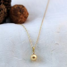 Everyone Loves the Yellow and Pendant with the Diamond Accent and Dyed Cultured Akoya Pearl Unique Gifts, Best Gifts, Valentine Gifts For Girlfriend, Golden Color, Online Gifts, Gold Necklace, Romantic Gifts, Pearls, Chain