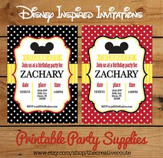Love this Mickey Mouse Design ... Mickey Mouse Birthday Party ideas  SALE Mickey Birthday Party Invitation DIY  $6.50 #mickey-birthday-ideas , Diy-Mickey , Diy-minnie
