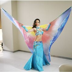 High Quality Stage Performance Props Dance Accessories Egyptian Wings with Sticks Rainbow Color Non-split Isis Wings Belly Dance