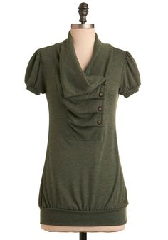 Over and Over Top in Olive - Green, Solid, Pleats, Short Sleeves, Work, Casual, Buttons, Long