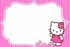 kitty2 Hello Kitty Invitation Card, Invitation Cards, Word Wall Activities, Notebook Labels, Birthday Scrapbook Layouts, Powerpoint Background Design, School Labels, Hello Kitty Birthday, Christmas Frames
