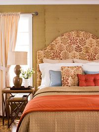How to Upholster a Headboard ~ We made a gorgeous tailored headboard from plywood, foam, and a tight-fitting slipcover. Try it yourself with our how-to instructions.