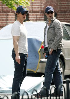 """Tom Cruise, left, with his stunt double on the set of """"Knight and Day."""""""