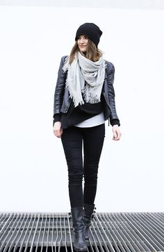 Bianca F - Zara Leather Jacket, Cos Cashmere Beanie - Black and grey