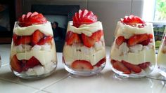 So good! 1cup cold milk, 1cup (8 oz) sour cream, 2pkgs Jello cream cheese pudding mix, 2cups heavy whipping cream (whipped) 8cups cubed angel food cake, sliced strawberries. Directions: whip heavy whipping cream with beater (I added some sugar and vanilla extract when doing this). Beat in the milk, sour cream, and pudding mix until smooth. In a glass or bowl of your choice, layer angel food cake, strawberries and pudding mixture until glass is filled.