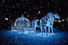 Horse and Carriage with Lights and Snow Animated