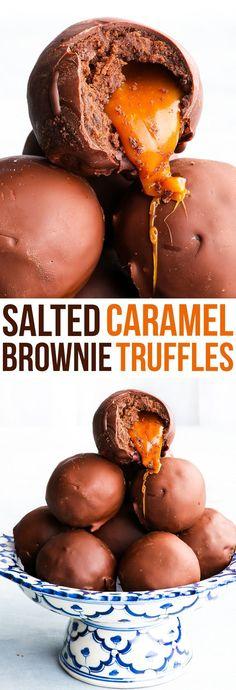 Salted Caramel Brownie Truffles #candy #truffles #homemadecandy