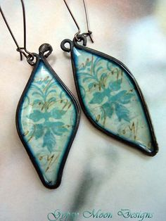 Hand forged copper paper earrings
