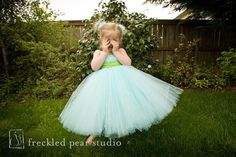 Aqua Blue Flower Girl Tutu Dress - YOU Pick Sash Color