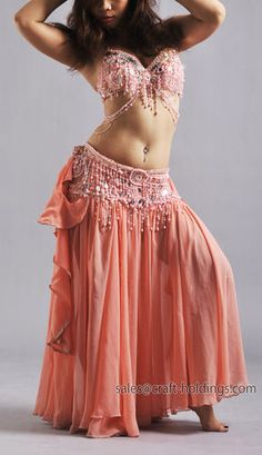 Belly Dance Costume Set Custom Made to Your Size Beads and Fringe Milky Orange | eBay