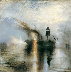 """Turner's best work lies somewhere in between tumultuous and placid. In """"Peace — Burial at Sea"""" the sharp black silhouettes of the sails of a burning ship anchor the quavering depictions of sea, air, fire and smoke."""