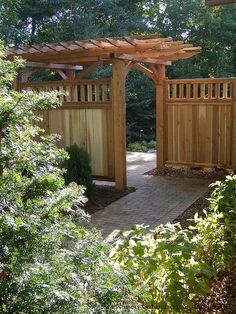 Privacy Pergola with unique entrance, fencing, landscape design