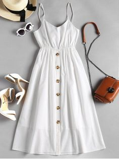 Best Places to Shop for Summer Dresses - - Button Up Knotted Cami Dress. Websites with wide selection of trendy fashion style women's clothing, especially swimwear in all kinds which costs at an affordable price. Cute Casual Dresses, Trendy Dresses, Day Dresses, Short Dresses, Teen Fashion Outfits, Stylish Outfits, Fashion Dresses, Trendy Fashion, Mode Pastel