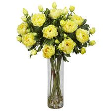 Giant Peony Silk Flower Arrangement in Yellow | Nearly Natural